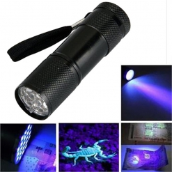Super Mini UV Ultra Violet 9 Led Flashlight Blacklight Torch