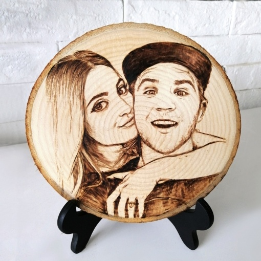 Personalized Engraved Photo Frame Wood Tree Trunk