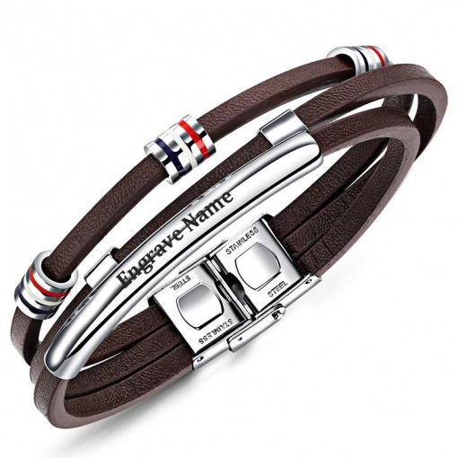 Personalized Engraved Brown Leather Bracelet