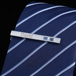 Personalized Silver Finish Tie Clip